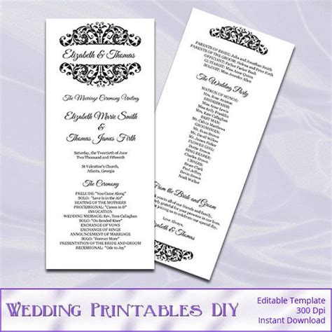 diy wedding program template wedding ceremony program template diy printable black