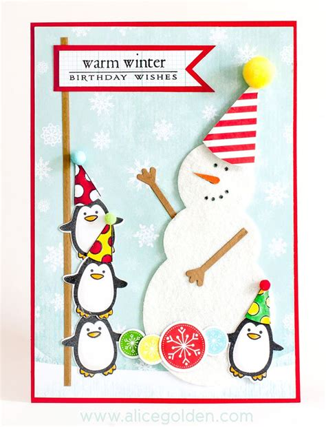 Winter Birthday Cards Winter Fun Birthday Card Golden Moments