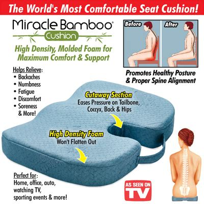 window seat as seen on tv miracle bamboo orthopedic cushion from collections etc