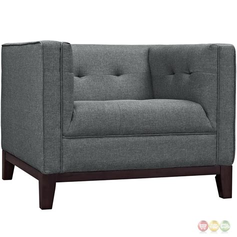 gray armchair with ottoman serve modern 2pc upholstered button tufted sofa armchair