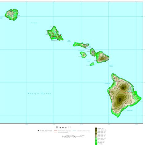 map of hawaii hawaii elevation map