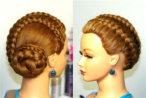 Hairstyle for long hair. French braids. Braided updo   Doovi