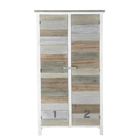 wooden wardrobe in white w 110cm noirmoutier maisons du