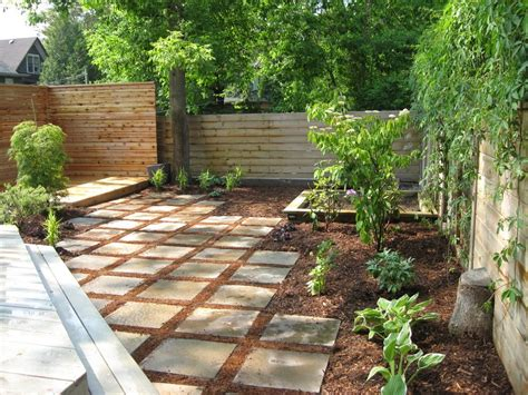 backyard mulch ideas landscape modern with stepping stones