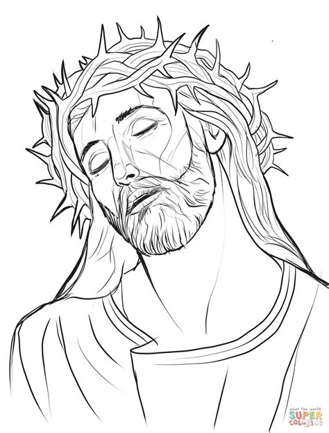 printable crown of thorns christ with a crown of thorns coloring page free