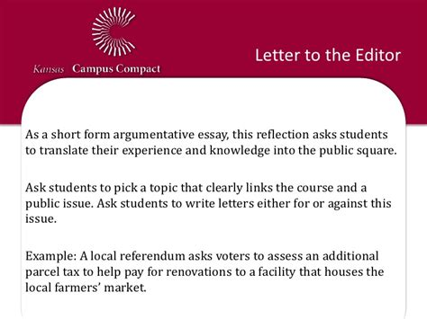 letter to the editor template for students reflection activity exles