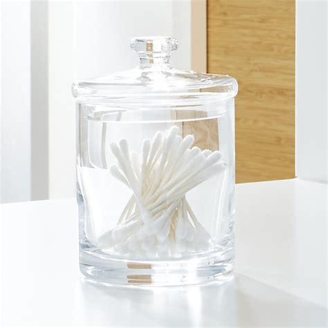 glass bathroom canisters small glass canister crate and barrel