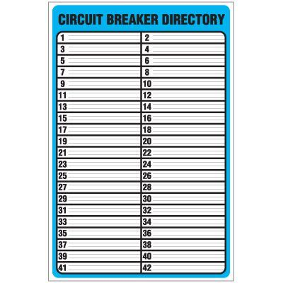 Circuit Breaker Directory Template Checklist Pinterest Label Templates Circuits And Template Electrical Panel Directory Template