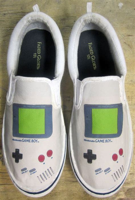 Gameboy Footwear by Custom Gameboy Shoes Slip On Painted Canvas Shoes Slip On