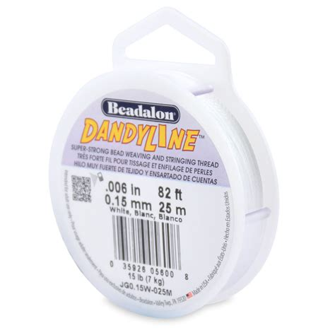 dandyline beading thread 15mm white dandyline bead cord 25 meters beading cord