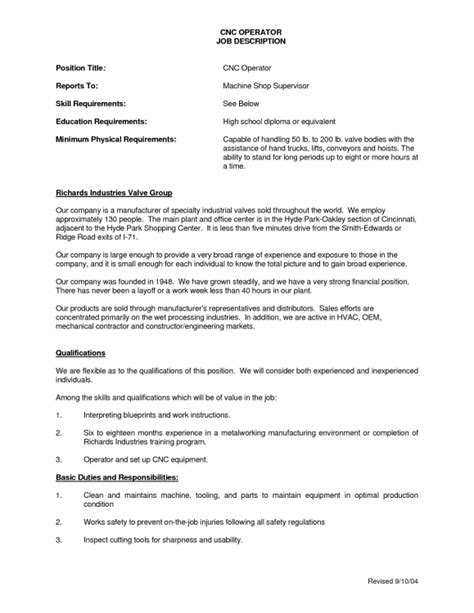 Cnc Machinist Cover Letter by Cnc Operator Description For Resume Resume Template Exle