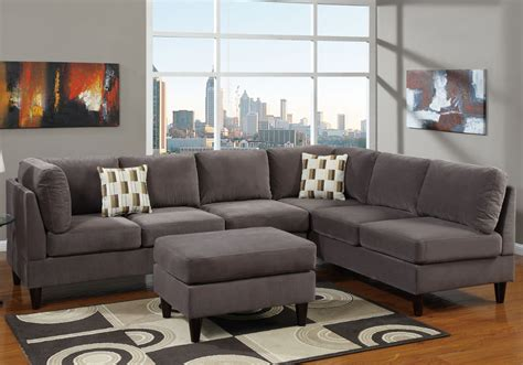 gray microfiber sectional home design ideas