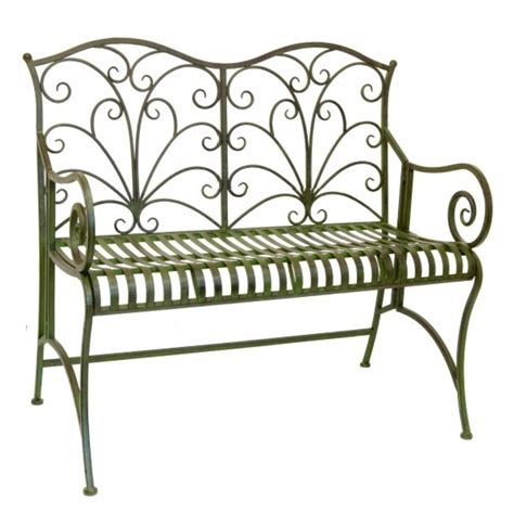 green metal bench metal garden bench lucton range the garden factory