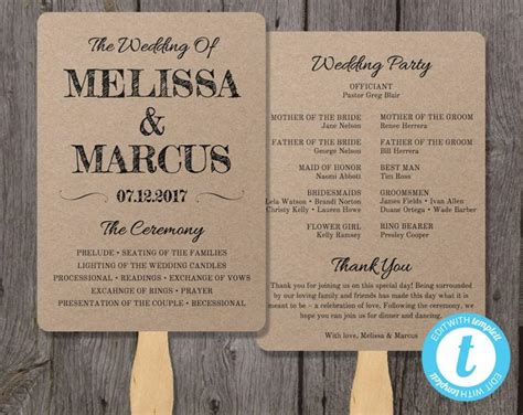 Rustic Wedding Program Fan Template Fan Wedding Program Template Instant Download Edit In Free Rustic Wedding Program Templates