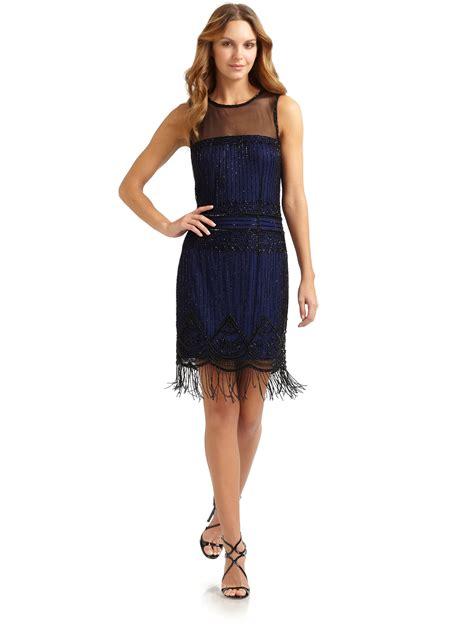 beaded fringe dress aidan mattox beaded fringe dress in blue black blue lyst