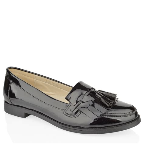 womens loafers womens flat casual office patent faux leather