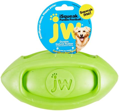 jw pet isqueak funble football dog toy color varies