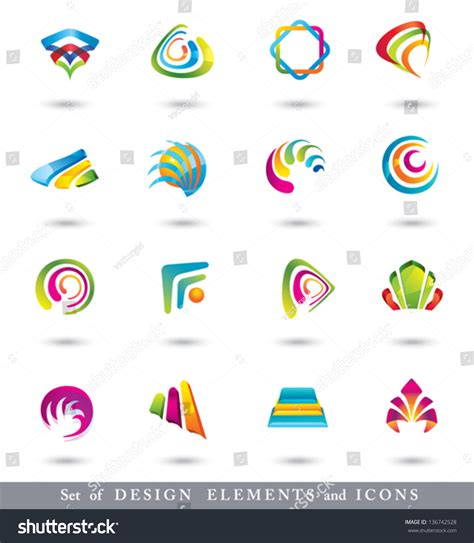 design elements icon abstract design elements collection icons abstract stock
