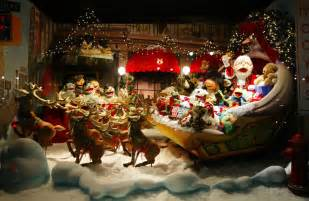 extravagant christmas display window window during