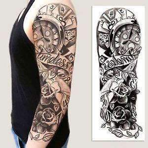Tribal Sticker Tattoo by Full Arm Flower Rose Clocks Tribal Tattoo Temporary