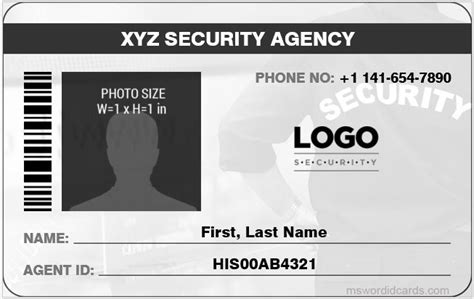 security id card template 4 best ms word security guard id card templates