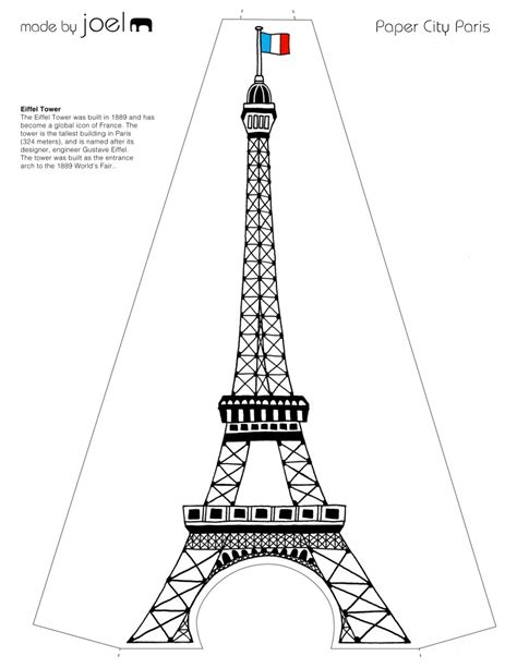 eiffel tower model template free theme coloring pages