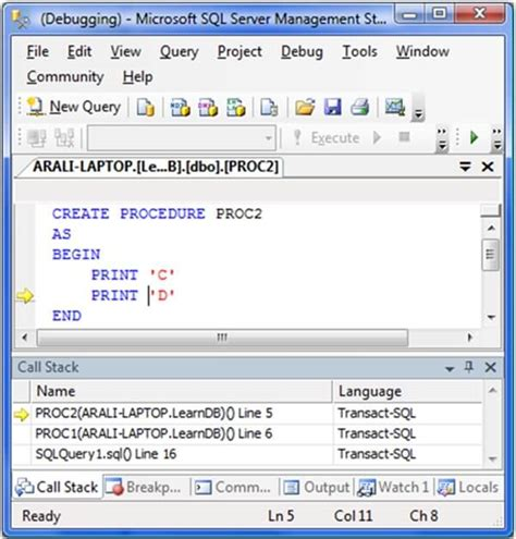 t sql sql server 2008 tsql debugger is back in ssms