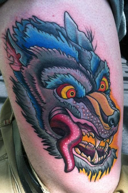 new school wolf tattoo design hell city wolf by canyon webb tattoonow