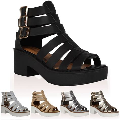 chunky gladiator sandals 15k womens cut out strappy chunky heel gladiator