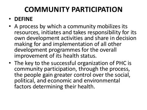 community definition community participation