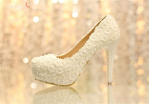 Pearl Wedding Shoes by Lace Chunky Heel Closed Toe With Pearl Wedding Bridal