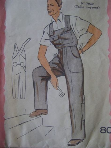 sewing pattern overalls vintage retro 1950s mens boilersuit overalls sewing pattern