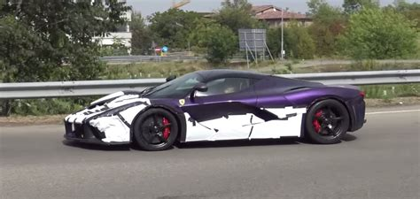 dark purple ferrari purple and black laferrari spotted testing