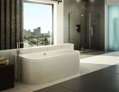 standalone bathtub white ceramic standalone tub with steel faucet next to