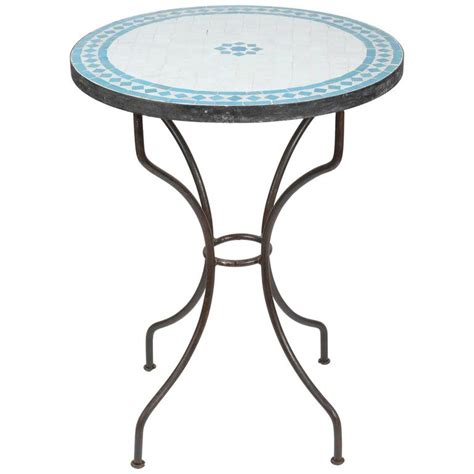 Tile Bistro Table Moroccan Mosaic Turquoise Blue Tile Bistro Table Iron Base For Sale At 1stdibs