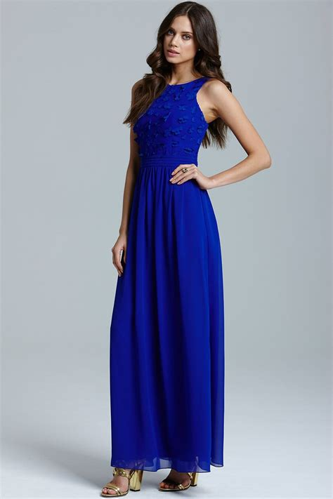 blue applique maxi dress