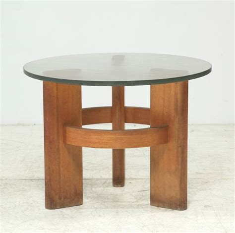 Glass Top Oak Coffee Table Studio Side Table With Solid Oak Legs And Original Glass Top For Sale At 1stdibs