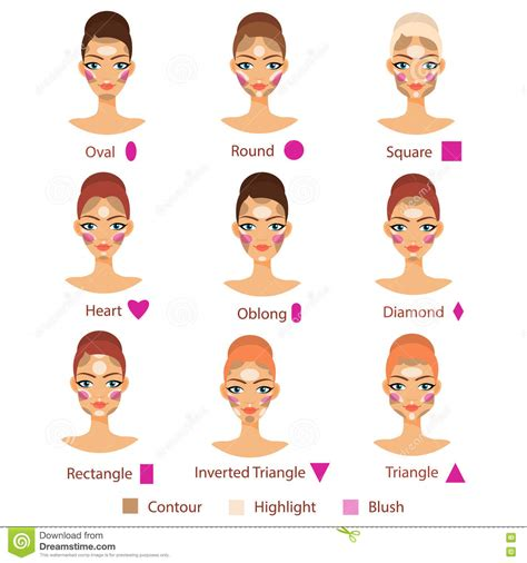different face shapes need different kinds of makeup highlight contour and blush for different female face