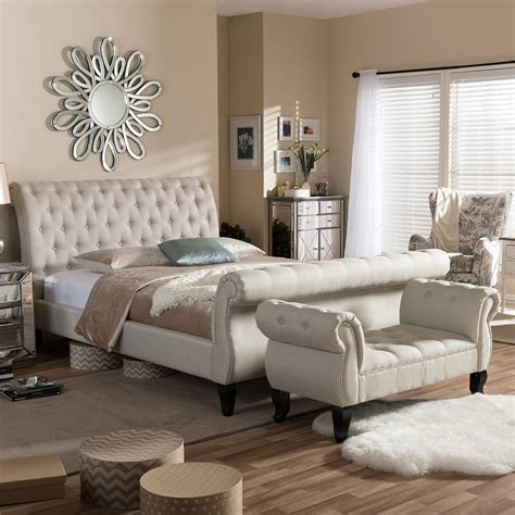 baxton studio arran  piece beige king bedroom set   hd  home depot