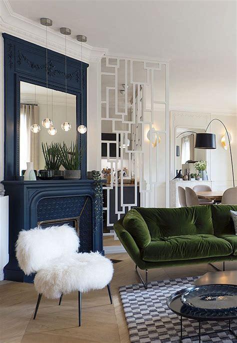 visites deco appartement canape velours vert deco maison