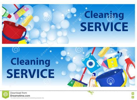 set banners service cleaning poster template for house