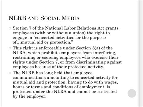 nlra section 7 social media privacy and social media in the workplace