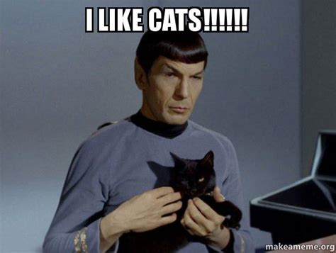How To Make Picture Memes - i like cats spock and cat meme make a meme