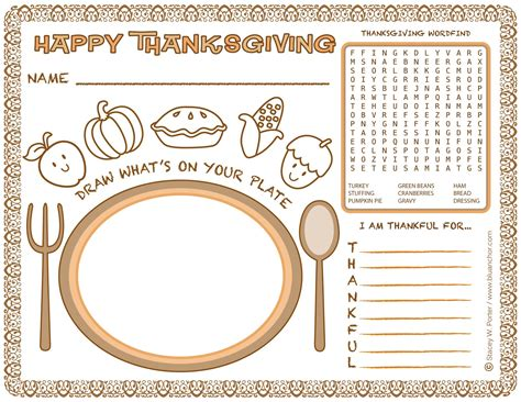 Printable Place Mats by Free Placemat Coloring Pages