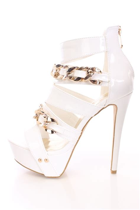 white gold chain strappy high heels patent