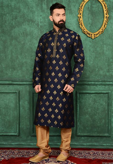 woven art silk jacquard kurta set  navy blue mgv