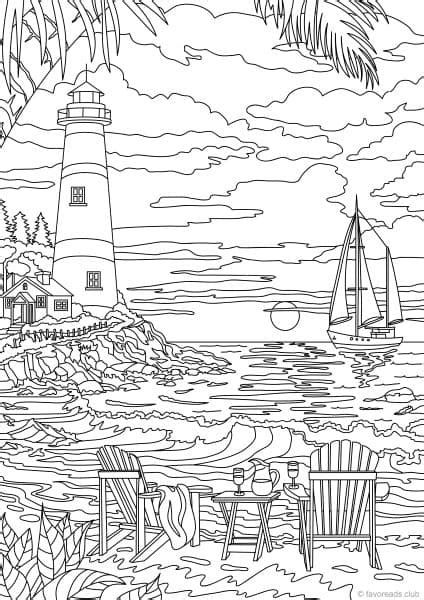 Ocean Life   Lighthouse   Printable Coloring Book Pages
