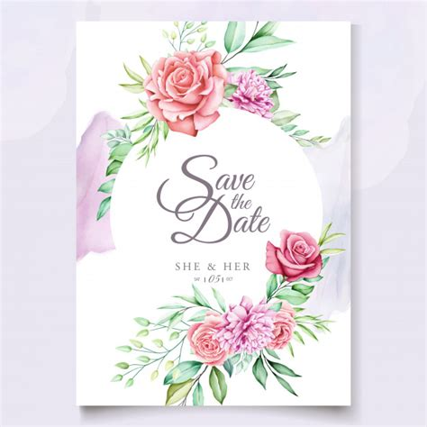 colorful floral wedding invitation template premium vector
