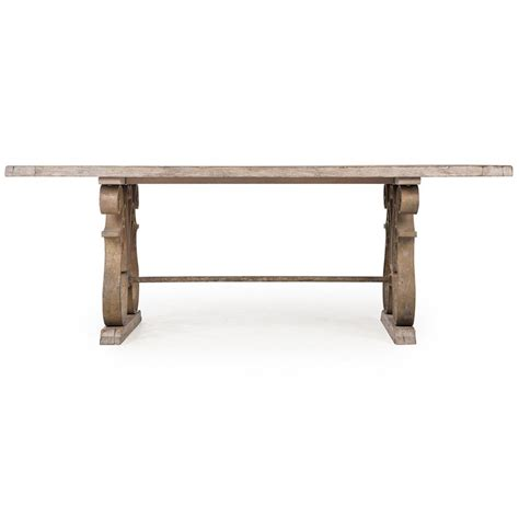 Rustic Country Dining Table Talulah Country Rustic Iron Scroll Aged Wood Dining Table Kathy Kuo Home