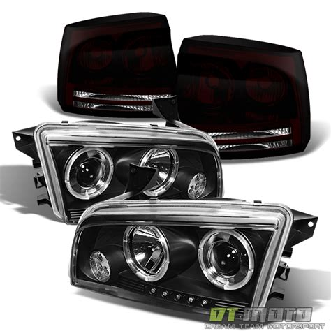 dodge charger tinted lights 2006 2008 dodge charger halo projector headlights black